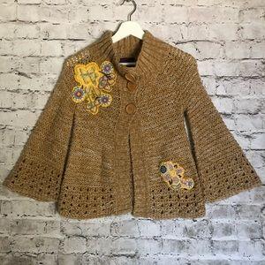Lulumari Embroidered Applique Knit Sweater Top